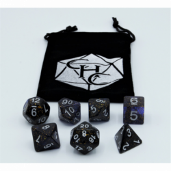 Blue Set of 7 Dark Neubula Polyhedral Dice with Silver Numbers for D20 based RPG's
