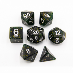 Green Set of 7 Dark Neubula Polyhedral Dice with Silver Numbers for D20 based RPG's