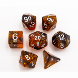 Orange Set of 7 Dark Neubula Polyhedral Dice with Silver Numbers for D20 based RPG's