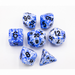 Blue Set of 7 Speckled Polyhedral Dice with Black Numbers for D20 based RPG's