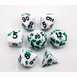 Green Set of 7 Speckled Polyhedral Dice with Black Numbers for D20 based RPG's