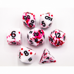 Red Set of 7 Speckled Polyhedral Dice with Black Numbers for D20 based RPG's