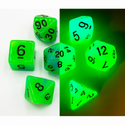 Blue/Green Set of 7 Fusion Glow In Dark Polyhedral Dice with Black Numbers for D20 based RPG's