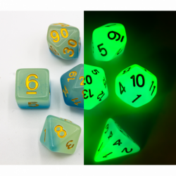 Blue/White Set of 7 Fusion Glow In Dark Polyhedral Dice with Gold Numbers for D20 based RPG's