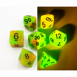 Green/Orange Set of 7 Fusion Glow In Dark Polyhedral Dice with Black Numbers for D20 based RPG's