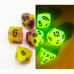 Green/Pink Set of 7 Fusion Glow In Dark Polyhedral Dice with Black Numbers for D20 based RPG's
