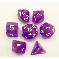 Purple Set of 7 Aurora Polyhedral Dice with White Numbers for D20 based RPG's