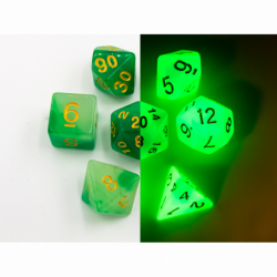 Green/White Set of 7 Fusion Glow In Dark Polyhedral Dice with Gold Numbers for D20 based RPG's