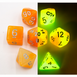 Orange/White Set of 7 Fusion Glow In Dark Polyhedral Dice with Gold Numbers for D20 based RPG's