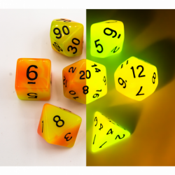 Orange/Yellow Set of 7 Fusion Glow In Dark Polyhedral Dice with Black Numbers for D20 based RPG's