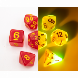 Red/White Set of 7 Fusion Glow In Dark Polyhedral Dice with Gold Numbers for D20 based RPG's