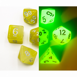 White/Yellow Set of 7 Fusion Glow In Dark Polyhedral Dice with Gold Numbers for D20 based RPG's