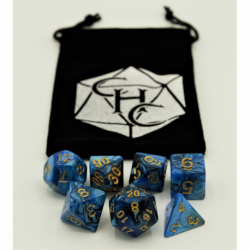 Black/Blue Set of 7 Fusion Polyhedral Dice with Gold Numbers for D20 based RPG's