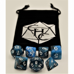 Black/Blue Set of 7 Fusion Polyhedral Dice with White Numbers for D20 based RPG's