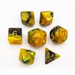 Black/Gold Set of 7 Fusion Polyhedral Dice with Gold Numbers for D20 based RPG's
