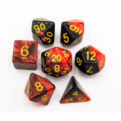 Black/Red Set of 7 Fusion Polyhedral Dice with Gold Numbers for D20 based RPG's