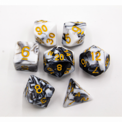 Black/White Set of 7 Fusion Polyhedral Dice with Gold Numbers for D20 based RPG's