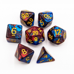 Blue/Copper Set of 7 Fusion Polyhedral Dice with Gold Numbers for D20 based RPG's