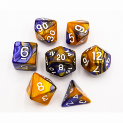 Blue/Gold Set of 7 Fusion Polyhedral Dice with White Numbers for D20 based RPG's