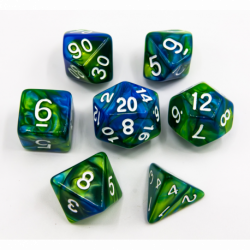 Blue/Green Set of 7 Fusion Polyhedral Dice with White Numbers for D20 based RPG's