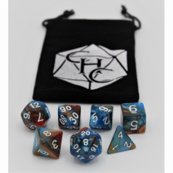 Blue/Orange Set of 7 Fusion Polyhedral Dice with White Numbers for D20 based RPG's