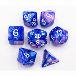 Blue/Pink Set of 7 Fusion Polyhedral Dice with White Numbers for D20 based RPG's