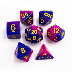 Blue/Purple Set of 7 Fusion Polyhedral Dice with Gold Numbers for D20 based RPG's
