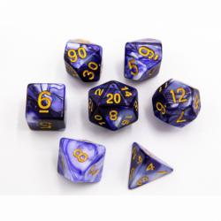 Blue/White Set of 7 Fusion Polyhedral Dice with Gold Numbers for D20 based RPG's