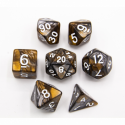 Gold/Silver Set of 7 Fusion Polyhedral Dice with White Numbers for D20 based RPG's
