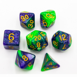 Green/Purple Set of 7 Fusion Polyhedral Dice with Gold Numbers for D20 based RPG's