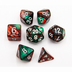 Green/Red Set of 7 Fusion Polyhedral Dice with White Numbers for D20 based RPG's