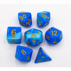 Light Blue/Dark Blue Set of 7 Fusion Polyhedral Dice with Gold Numbers for D20 based RPG's
