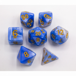 Light Blue/White Set of 7 Fusion Polyhedral Dice with Gold Numbers for D20 based RPG's