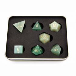 Aventurine Stone Set of 7 Gemstone Polyhedral Dice with Gold Numbers for D20 based RPG's