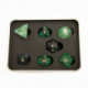 Green Fluorite Set of 7 Gemstone Polyhedral Dice with Gold Numbers for D20 based RPG's