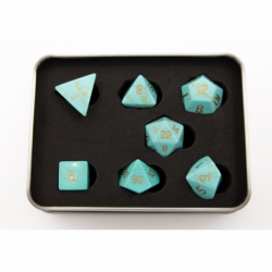 Green Turquoise Set of 7 Gemstone Polyhedral Dice with Gold Numbers for D20 based RPG's