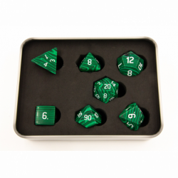 Malachite Set of 7 Gemstone Polyhedral Dice with White Numbers for D20 based RPG's