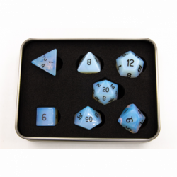 Opalite Set of 7 Gemstone Polyhedral Dice with Black Numbers for D20 based RPG's