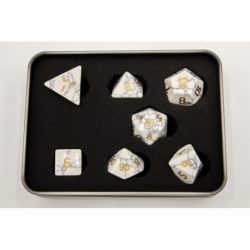 White Howlite Set of 7 Gemstone Polyhedral Dice with Gold Numbers for D20 based RPG's