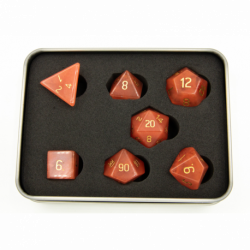 Watermelon Red Set of 7 Gemstone Polyhedral Dice with Gold Numbers for D20 based RPG's