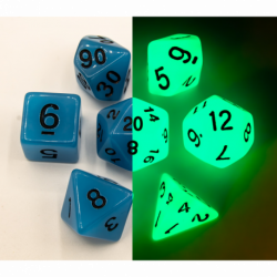 Blue Set of 7 Glow In Dark Polyhedral Dice with Black Numbers for D20 based RPG's