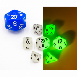 Mini Set of 7 Glow In Dark Polyhedral Dice with Black Numbers for D20 based RPG's