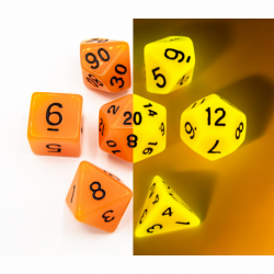 Orange Set of 7 Glow In Dark Polyhedral Dice with Black Numbers for D20 based RPG's