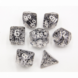 Black Set of 7 Glitter Polyhedral Dice with White Numbers for D20 based RPG's