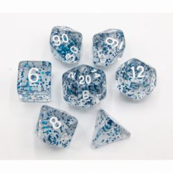 Blue Set of 7 Glitter Polyhedral Dice with White Numbers for D20 based RPG's