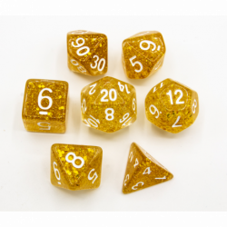 Gold Set of 7 Glitter Polyhedral Dice with White Numbers for D20 based RPG's