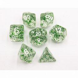 Green Set of 7 Glitter Polyhedral Dice with White Numbers for D20 based RPG's