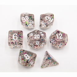 Rainbow Set of 7 Glitter Polyhedral Dice with White Numbers for D20 based RPG's