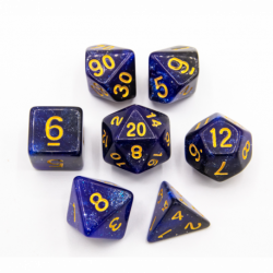 Black/Blue Set of 7 Galaxy Polyhedral Dice with Gold Numbers for D20 based RPG's