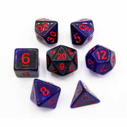 Black/Blue Set of 7 Galaxy Polyhedral Dice with Red Numbers for D20 based RPG's